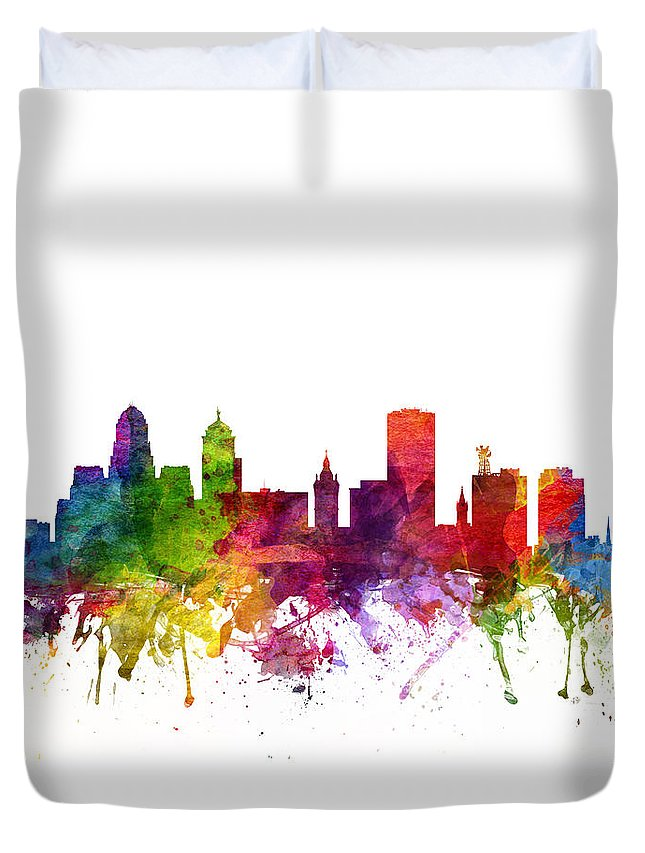 Buffalo Duvet Cover featuring the digital art Buffalo Cityscape 06 by Aged Pixel