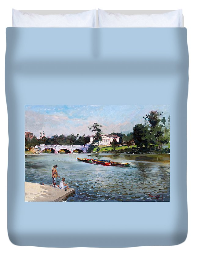 Landscape Duvet Cover featuring the painting Buffalo Fishing Day by Ylli Haruni