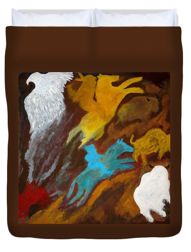 Buffalo Duvet Cover featuring the painting Buffalo Hunt -021 by Will Logan