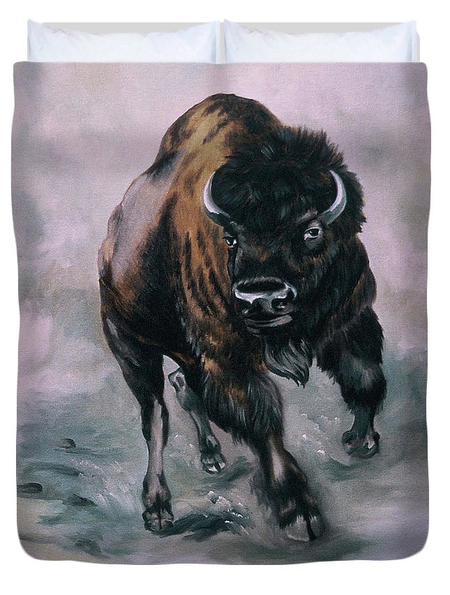 Bison Charge Duvet Cover featuring the painting Buffalo Stampede by Joyce Timberlake