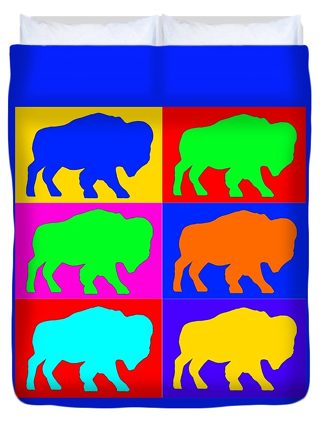 Buffalo Duvet Cover featuring the digital art Buffalo Madness by Scott Emerling