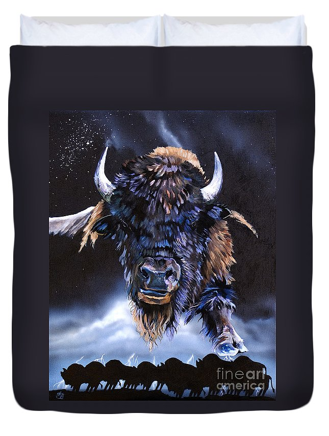 Buffalo Duvet Cover featuring the painting Buffalo Medicine by J W Baker