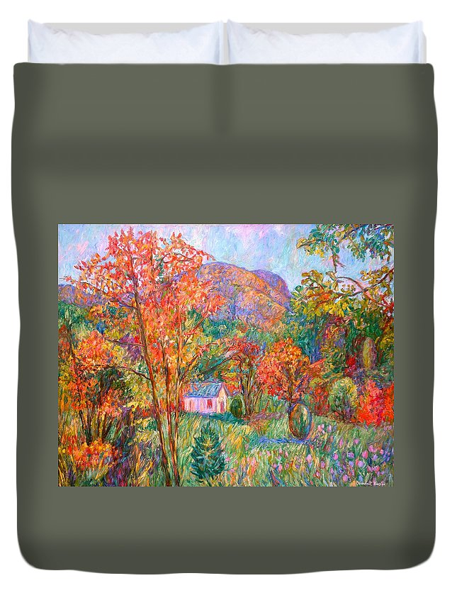 Landscape Duvet Cover featuring the painting Buffalo Mountain In Fall by Kendall Kessler