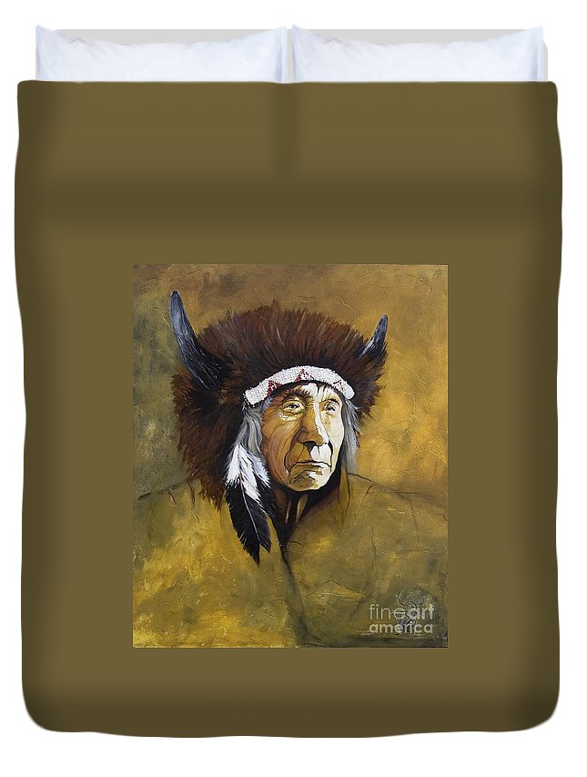 Shaman Duvet Cover featuring the painting Buffalo Shaman by J W Baker