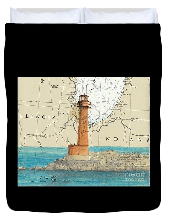 Buffington Duvet Cover featuring the painting Buffington Harbor Lighthouse In Nautical Chart Map by Cathy Peek