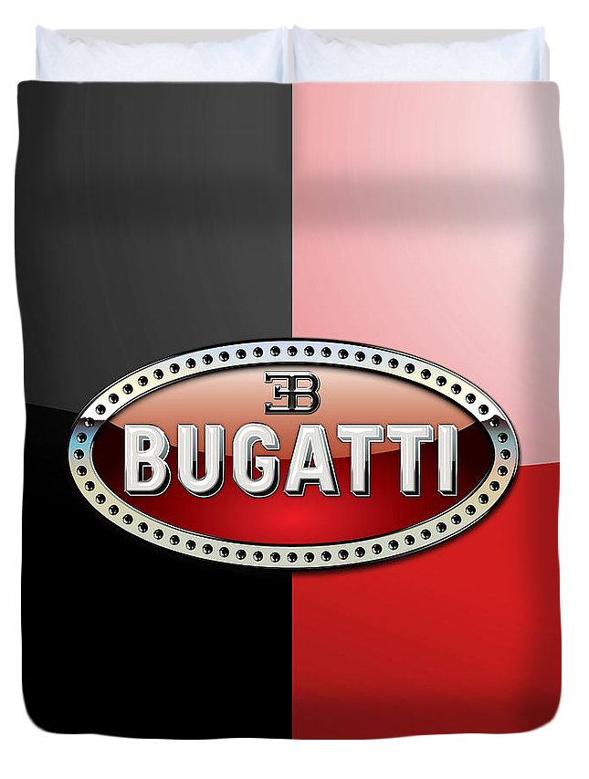 Wheels Of Fortune By Serge Averbukh Duvet Cover featuring the photograph Bugatti 3 D Badge on Red and Black by Serge Averbukh