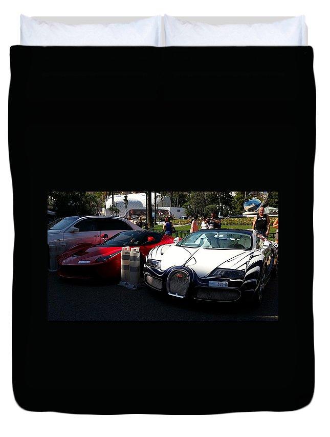 bugatti veyron and ferrari 39 la ferrari 39 duvet cover for sale by anthony croke. Black Bedroom Furniture Sets. Home Design Ideas