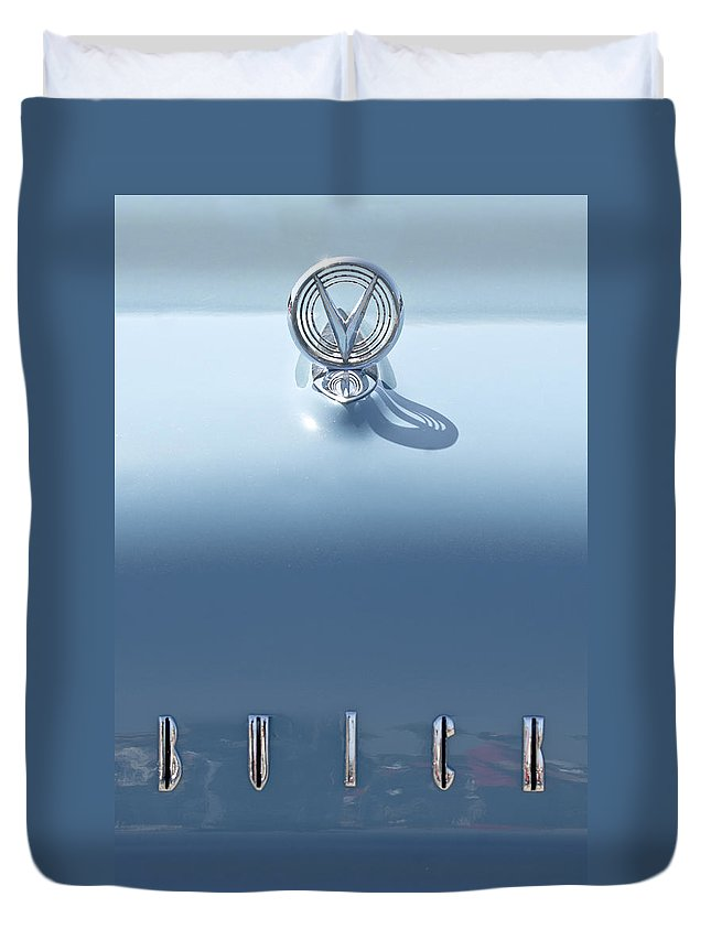Buick Duvet Cover featuring the photograph Buick Hood Ornament by Jill Reger