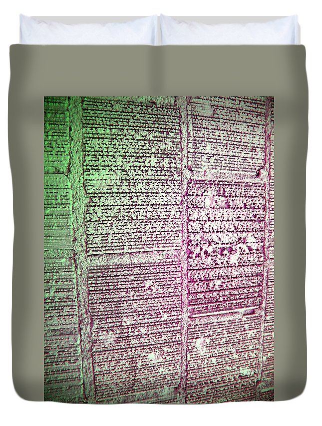 Abstract Duvet Cover featuring the digital art Building Hieroglyphics by Lenore Senior