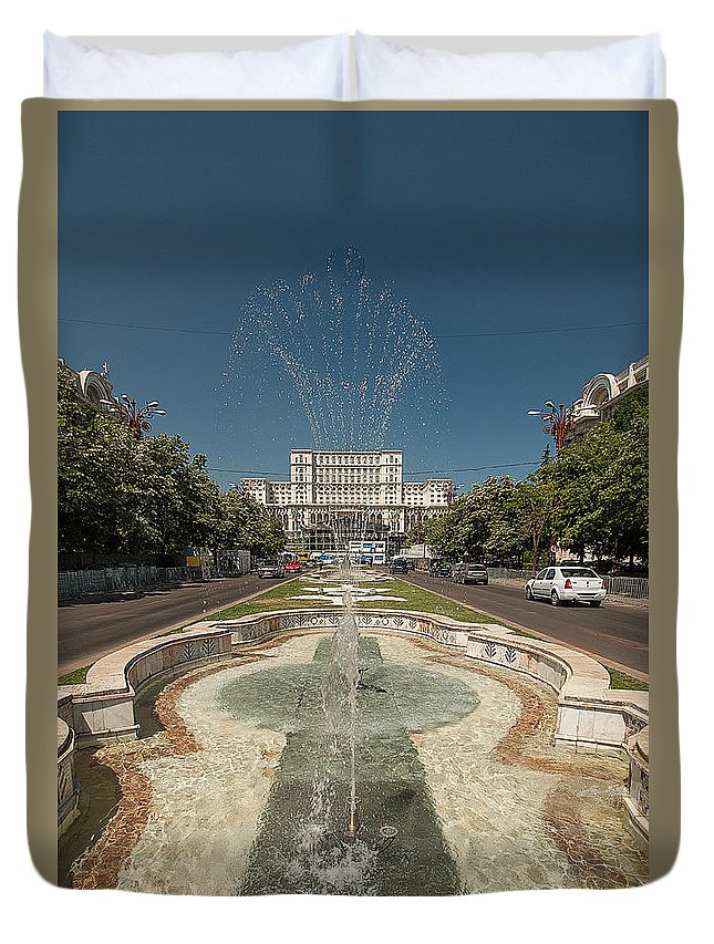 Bukarest Duvet Cover featuring the photograph Bukarest Government Palace by Christian Hallweger