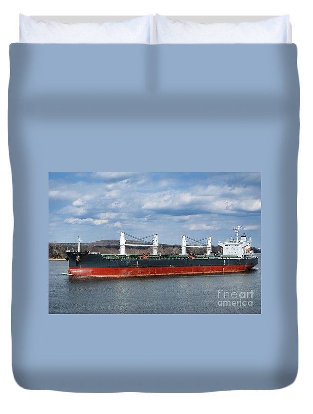 Boat Duvet Cover featuring the photograph Bulk Carrier Cargo Ship Sailing On River by Olivier Le Queinec