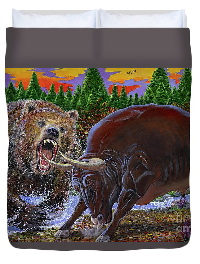 Bull Duvet Cover featuring the painting Bull And Bear by Carey Chen