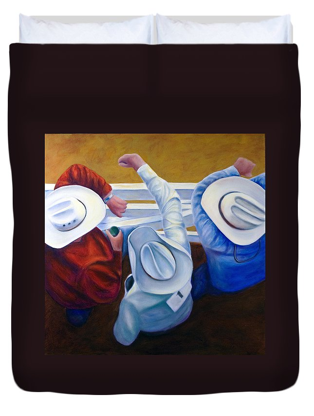 Western Duvet Cover featuring the painting Bull Chute by Shannon Grissom