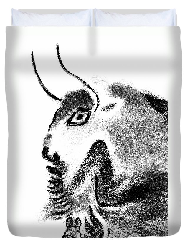 Bull Duvet Cover featuring the drawing Bull by Michal Boubin
