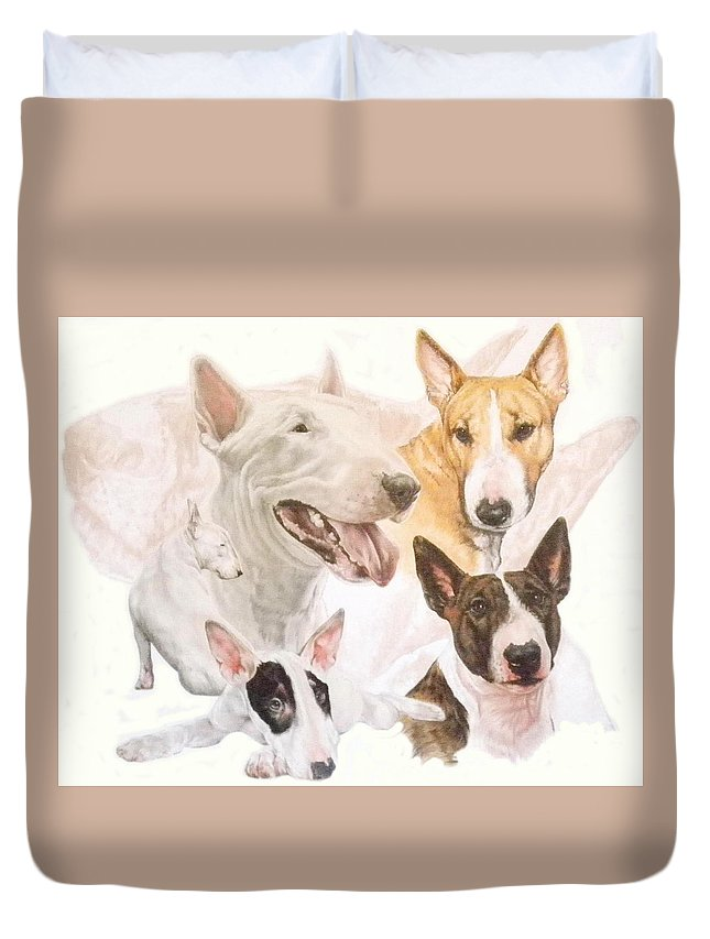 Purebred Duvet Cover featuring the mixed media Bull Terrier W/ghost by Barbara Keith