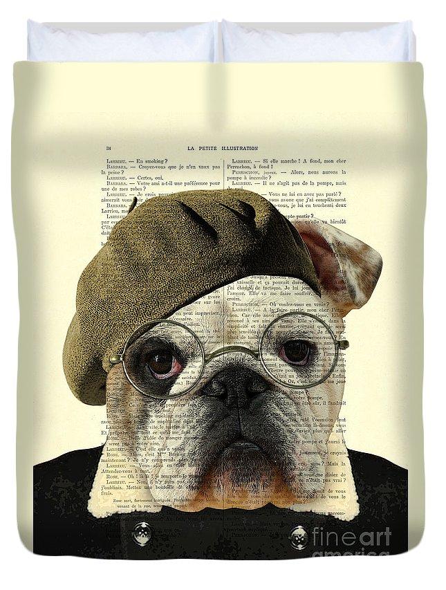 Bulldog Duvet Cover featuring the digital art Bulldog Portrait, Animals In Clothes by Madame Memento