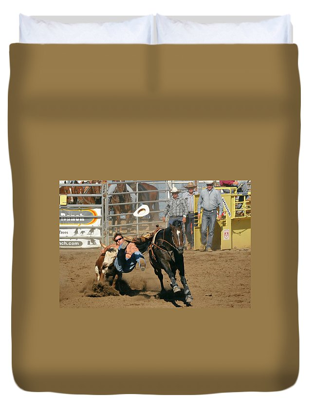 Cowboy Duvet Cover featuring the photograph Bulldogging At The Rodeo by Christine Till