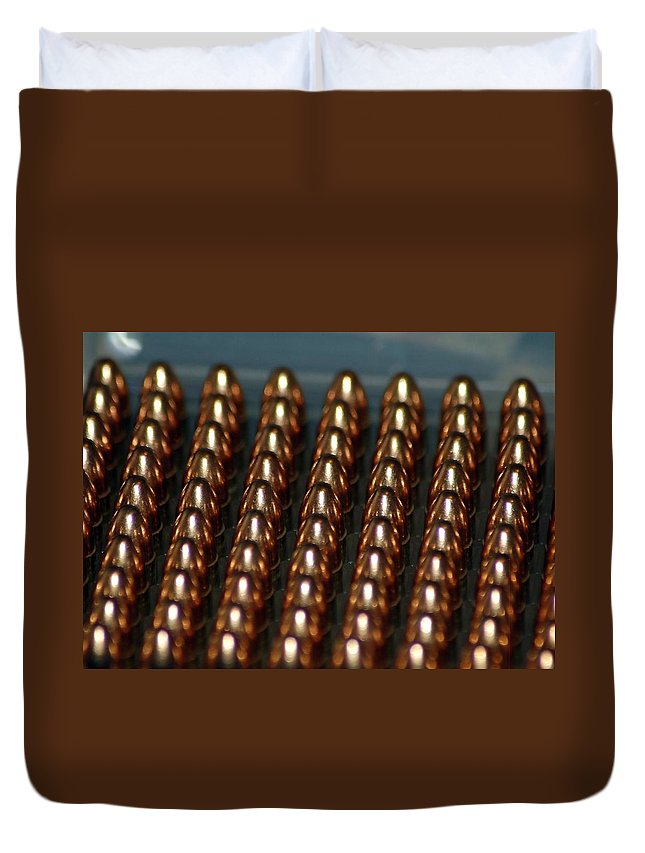 Bullet;brass;firearm Duvet Cover featuring the photograph Bullet Points by Cynthia Bowen
