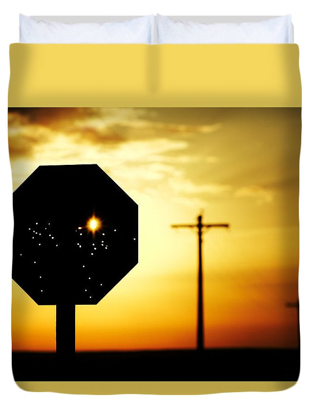 Stop Duvet Cover featuring the photograph Bullet-riddled Stop Sign by Todd Klassy