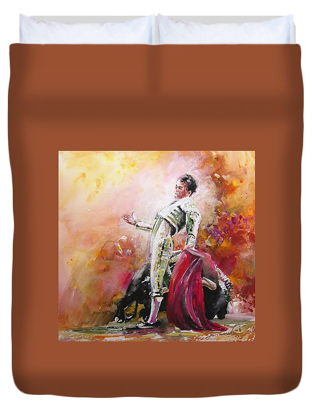 Animals Duvet Cover featuring the painting Bullfight 24 by Miki De Goodaboom