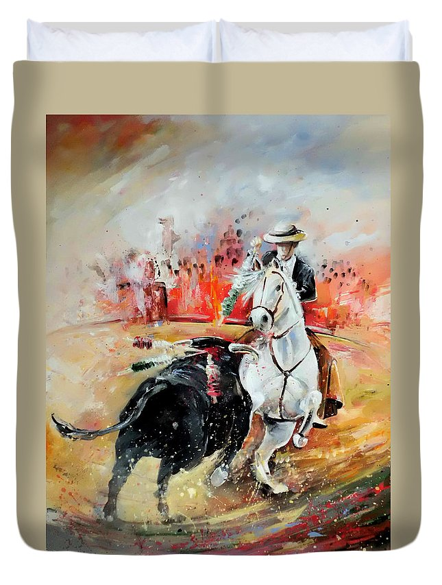 Toros Duvet Cover featuring the painting Bullfight 3 by Miki De Goodaboom