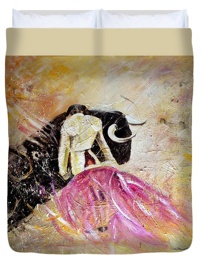 Animals Duvet Cover featuring the painting Bullfight 74 by Miki De Goodaboom