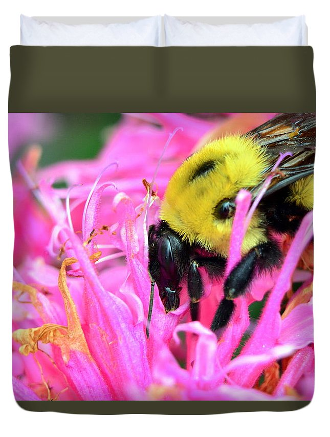 Bumble Bee And Flower Duvet Cover featuring the photograph Bumble Bee And Flower by Lisa Wooten