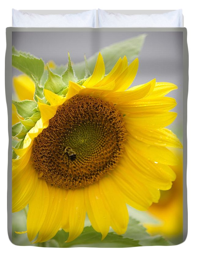 Flower Duvet Cover featuring the photograph Bumble Bee And The Sunflower by Tiffany Erdman