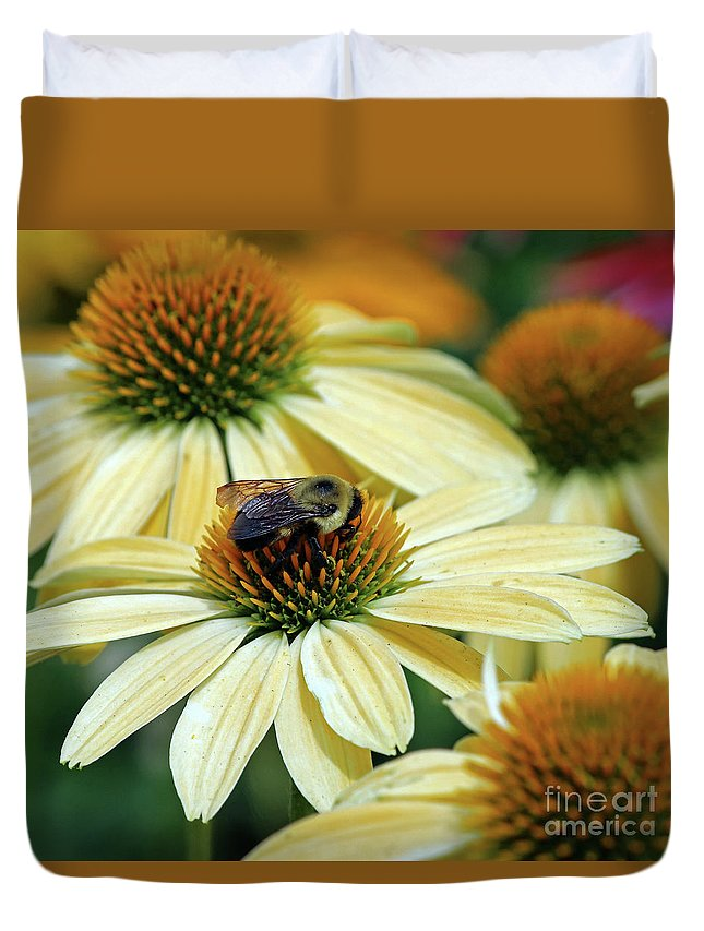 Flowers Duvet Cover featuring the photograph Bumble Bee At Work by Steve Gass