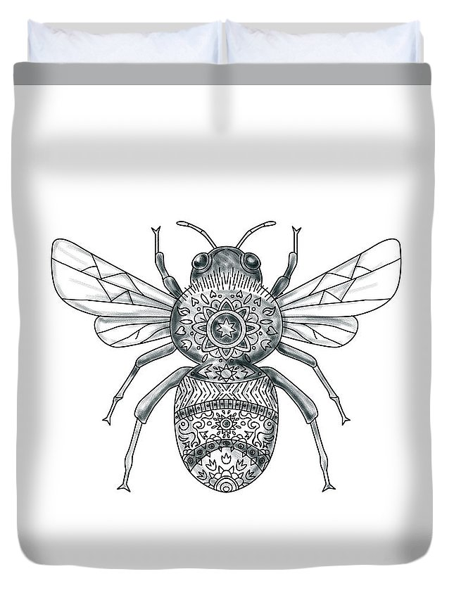 10b294472a866 Tattoo Duvet Cover featuring the digital art Bumble Bee Mandala Tattoo by Aloysius  Patrimonio