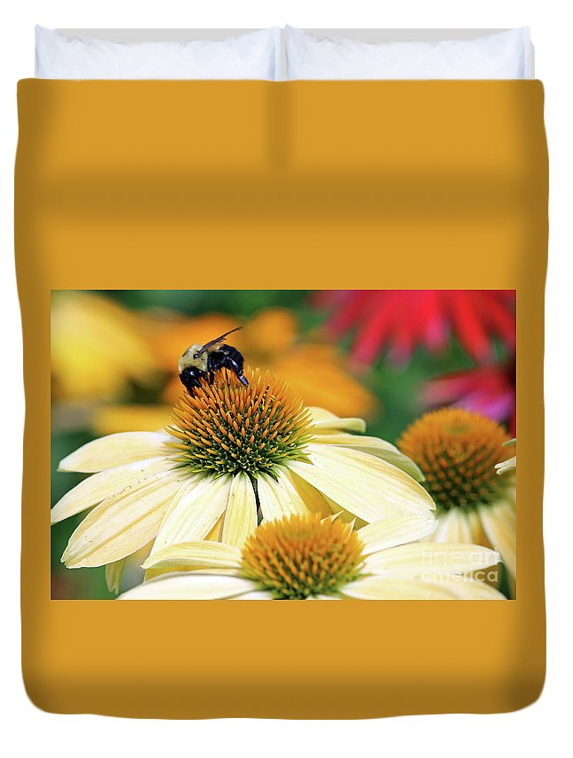Flowers Duvet Cover featuring the photograph Bumble Bee On Top by Steve Gass
