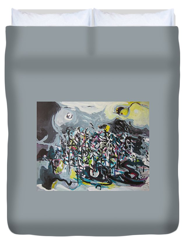 Abstract Paintings Duvet Cover featuring the painting Bummer Flat11 by Seon-Jeong Kim