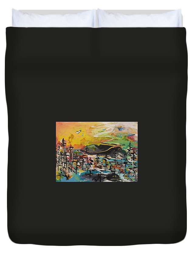 Abstract Paintings Duvet Cover featuring the painting Bummer Flat2 by Seon-Jeong Kim