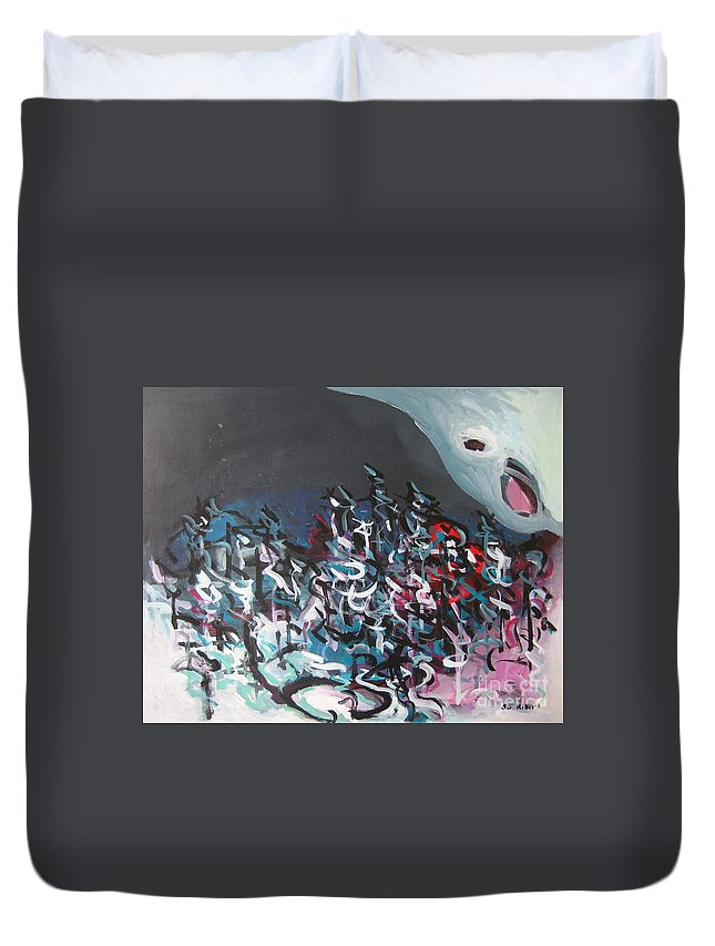 Abstract Paintings Duvet Cover featuring the painting Bummer Flat7 by Seon-Jeong Kim