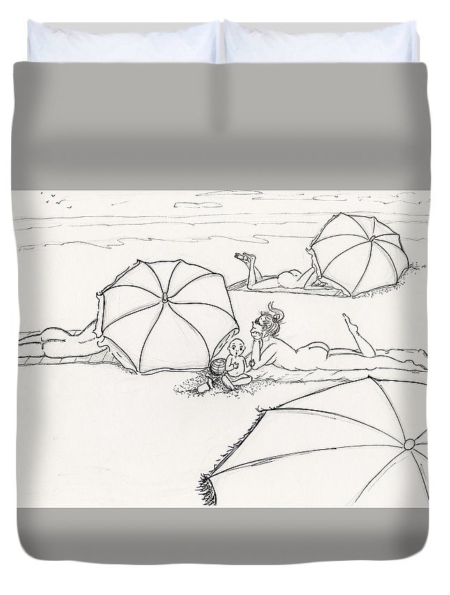 Beach Duvet Cover featuring the drawing Bums On The Beach by Monique Neugebauer