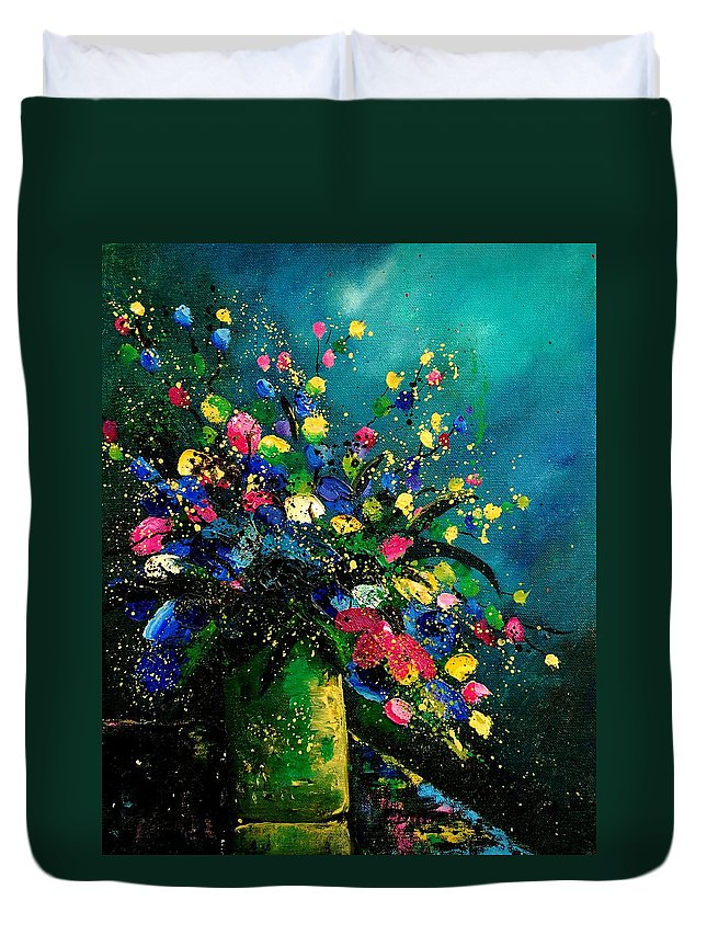 Flowers Duvet Cover featuring the painting Bunch 0807 by Pol Ledent