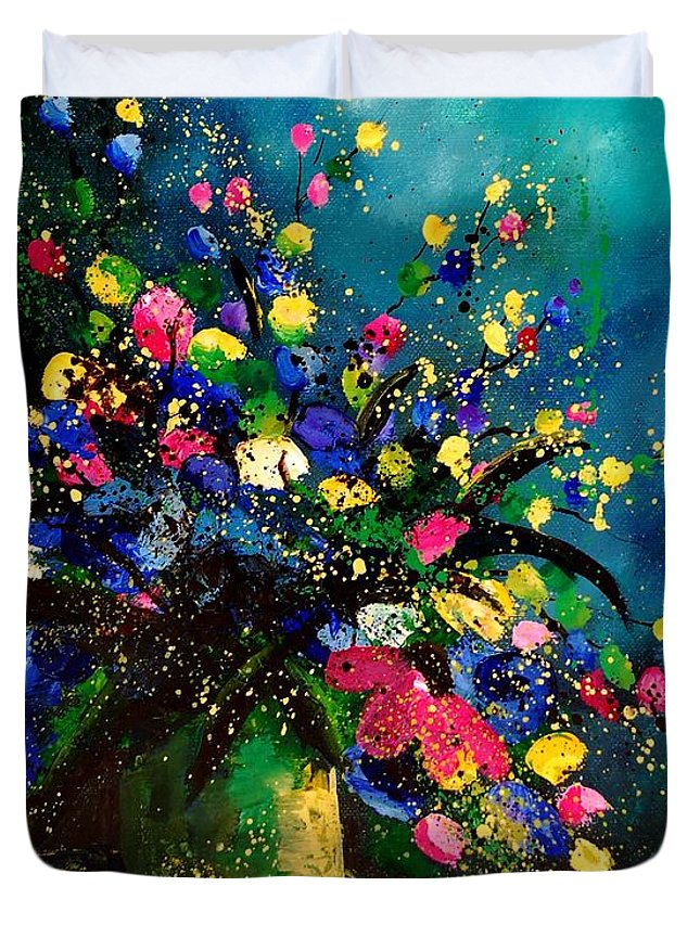 Poppies Duvet Cover featuring the painting Bunch 45 by Pol Ledent