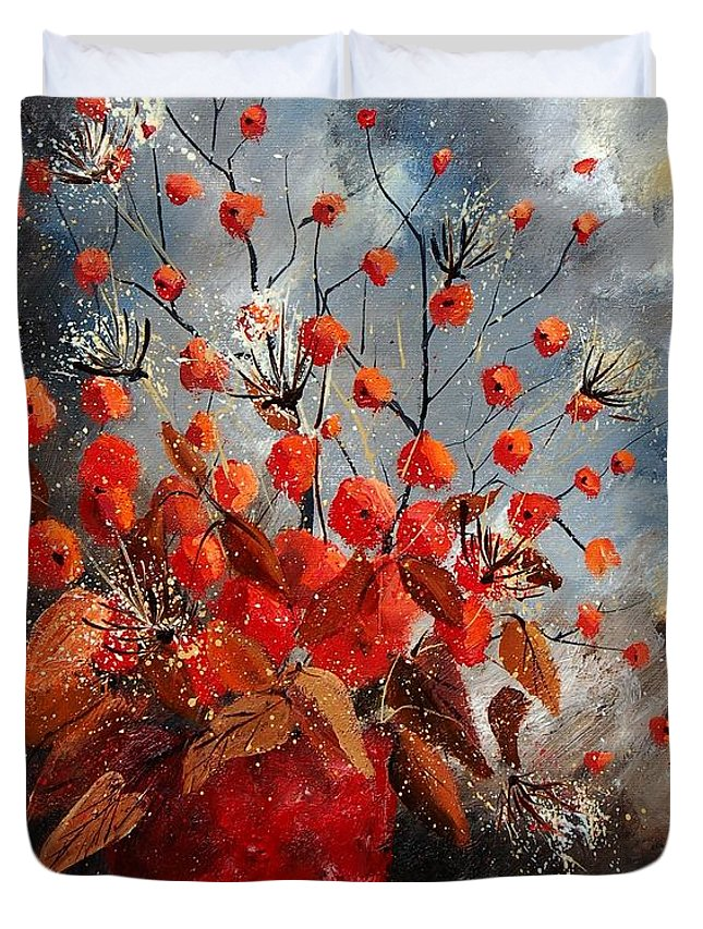 Flowers Duvet Cover featuring the painting Bunch 560608 by Pol Ledent