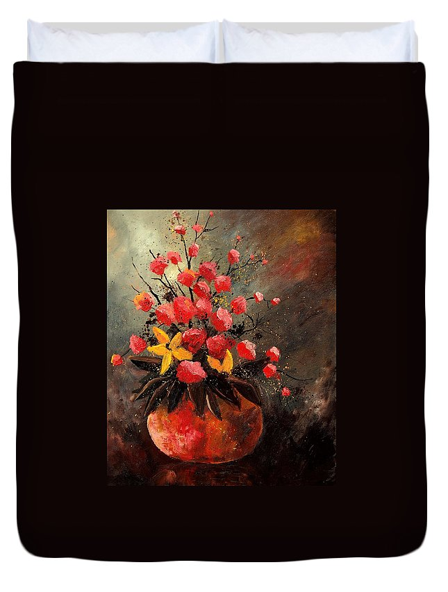 Flowers Duvet Cover featuring the painting Bunch 569060 by Pol Ledent