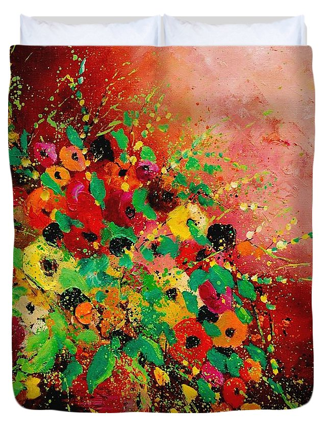 Flowers Duvet Cover featuring the painting Bunch Of Flowers 0507 by Pol Ledent