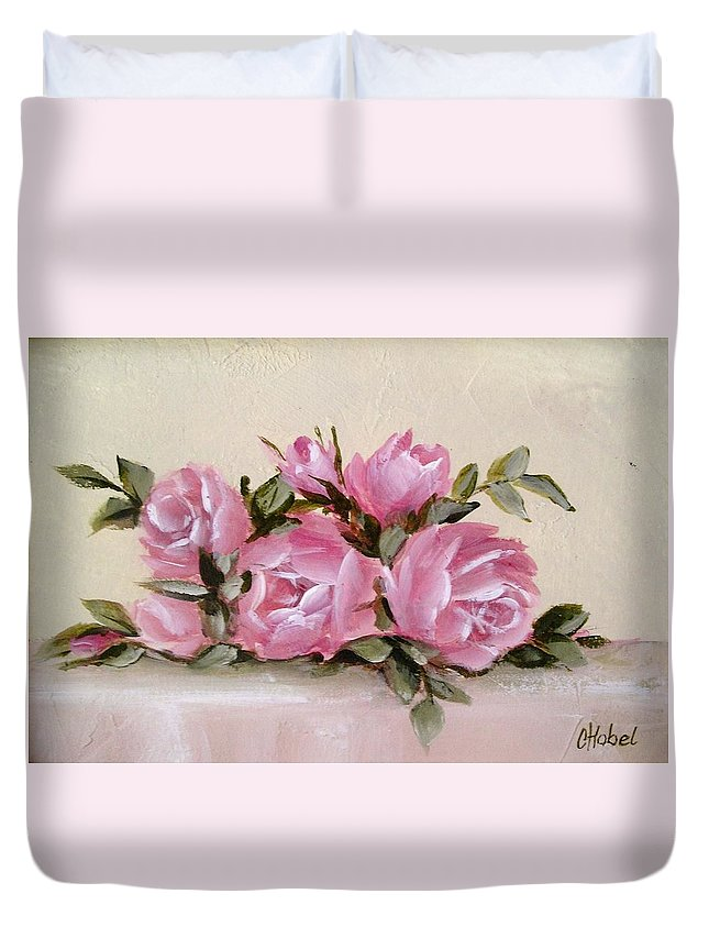 Shabby Chic Roses Duvet Cover featuring the painting Bunch Of Pink Roses Painting by Chris Hobel