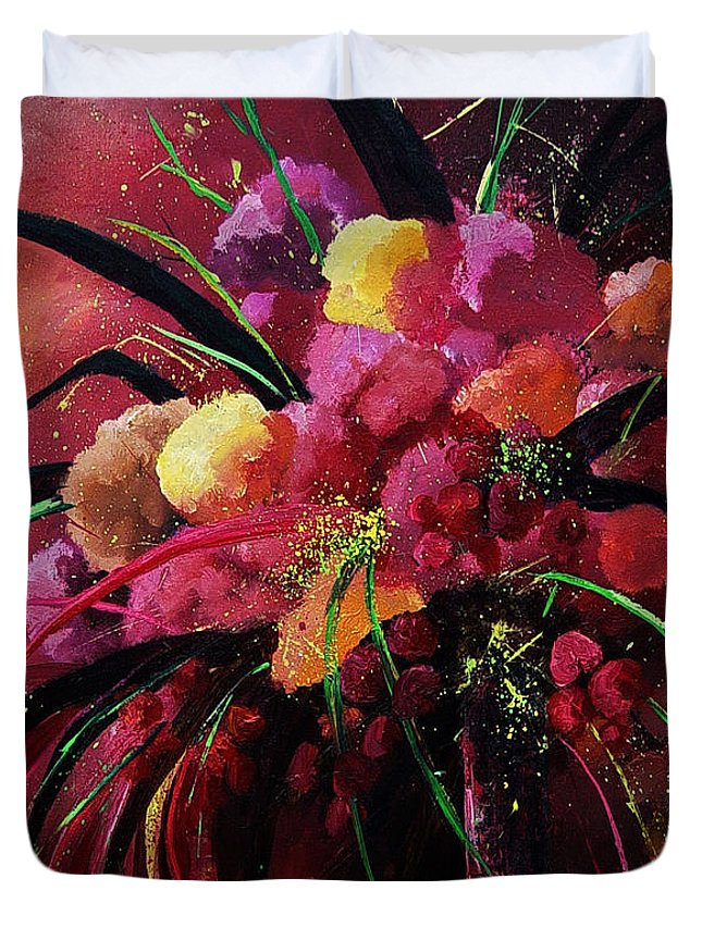 Flowers Duvet Cover featuring the painting Bunch Of Red Flowers by Pol Ledent