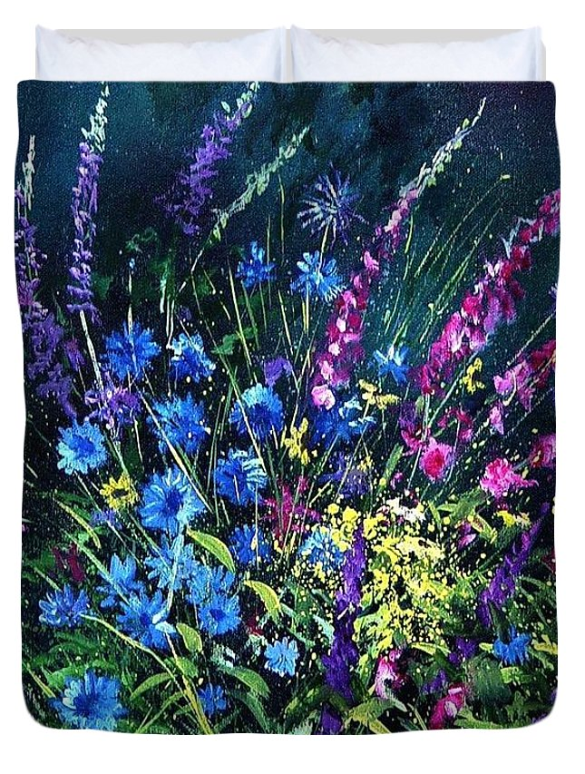 Poppies Duvet Cover featuring the painting Bunch Of Wild Flowers by Pol Ledent