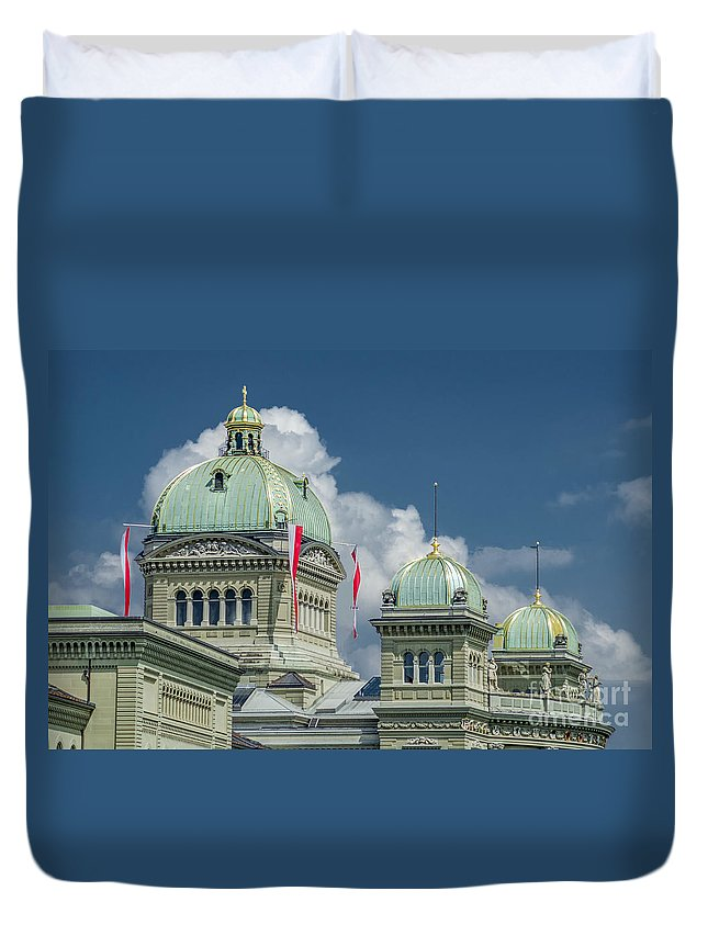 Michelle Meenawong Duvet Cover featuring the photograph Bundeshaus The Federal Palace by Michelle Meenawong