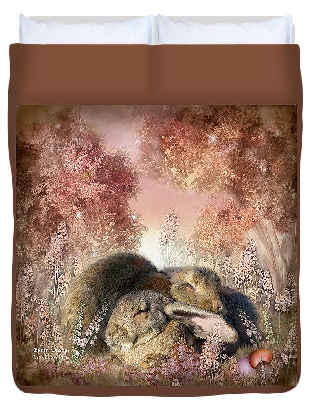 Bunny Art Duvet Cover featuring the mixed media Bunny Dreams by Carol Cavalaris