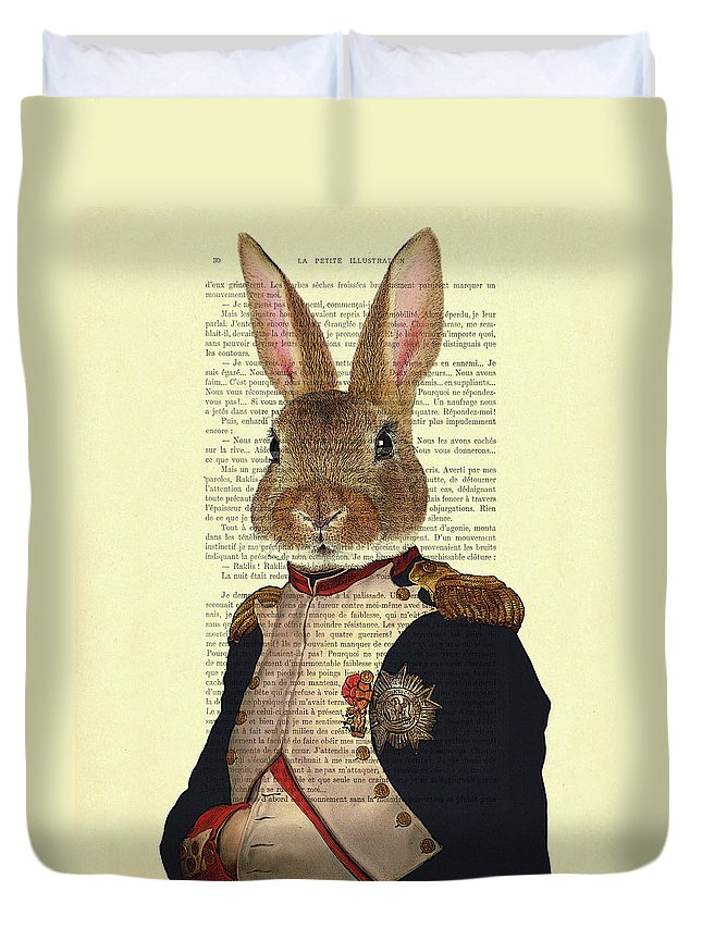 Bunny Duvet Cover featuring the digital art Bunny Portrait Illustration by Madame Memento