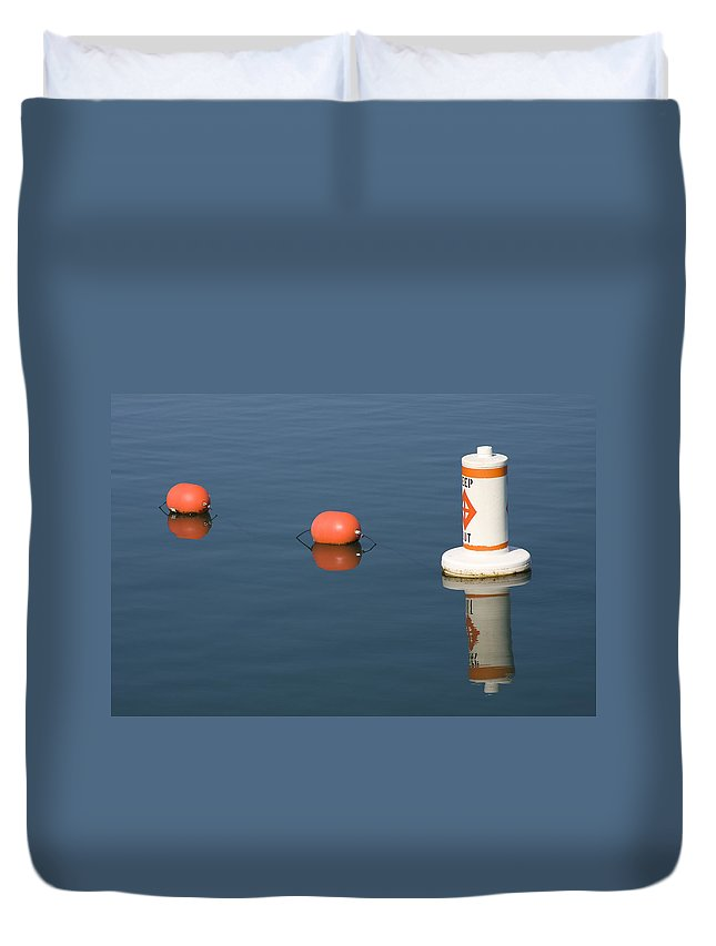 Chicago Windy City Buoy Water Lake Michigan Blue Reflection Mirror Orange Duvet Cover featuring the photograph Buoy by Andrei Shliakhau