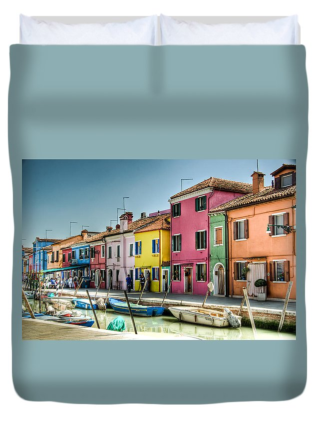 Burano Duvet Cover featuring the photograph Burano Canal by Jon Berghoff