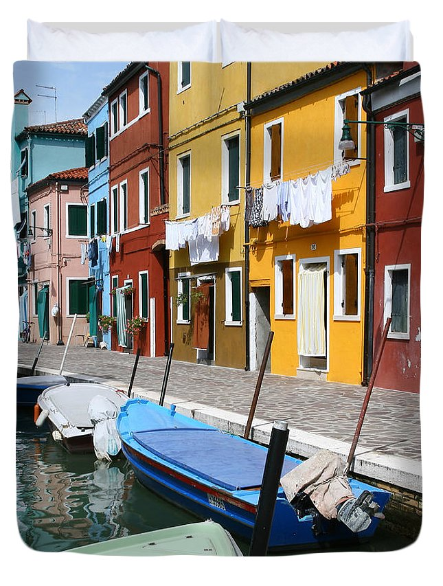 Burano Duvet Cover featuring the photograph Burano Corner With Laundry by Donna Corless