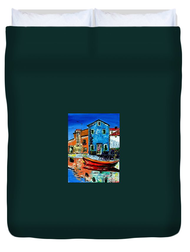 Italy Duvet Cover featuring the painting Burano Reflections by Inna Montano